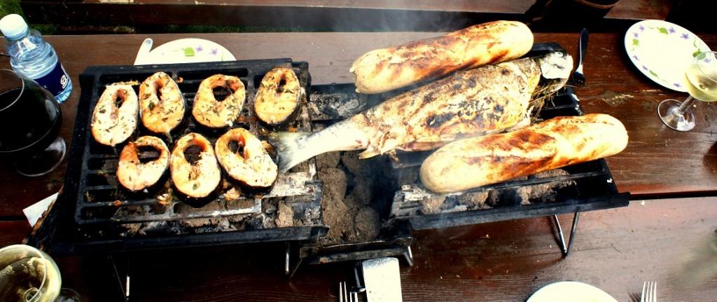 grill fisk brød